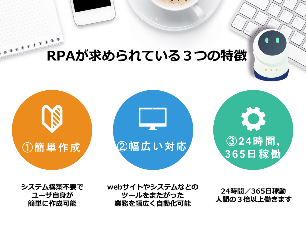 RPAが求められている3つの特徴